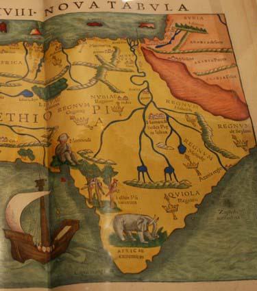 """Африка XVIII Nova Tabula из """"Giographia universalis"""" Птолемея, репринт Willibald Pirckheimer, Базель, 1542. Раскрашенная гравюра.Фрагмент. Фото Юлии Абрамовой, 2009"""