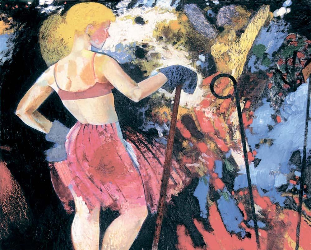 Фрагмент картины Виктора Зарецкого «Женщина всегда остается женщиной» (1987) в экспозиции выставки Gender Check в Музее современного искусства в Вене
