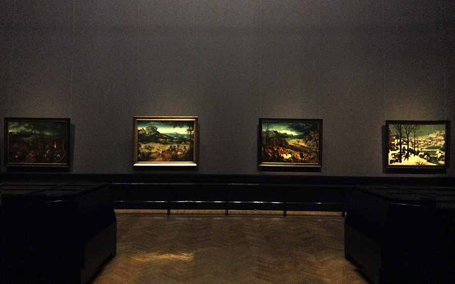 """Four of the surviving five paintings of the calendar cycle in the exhibition of Peter Bruegel at the Museum of Art History in Vienna. Three of them are in the Museum's permanent collection, while """"Summer"""" was brought from the Lobkowitz Collection in Prague.  Photo: Art with me! e.U., 2019"""