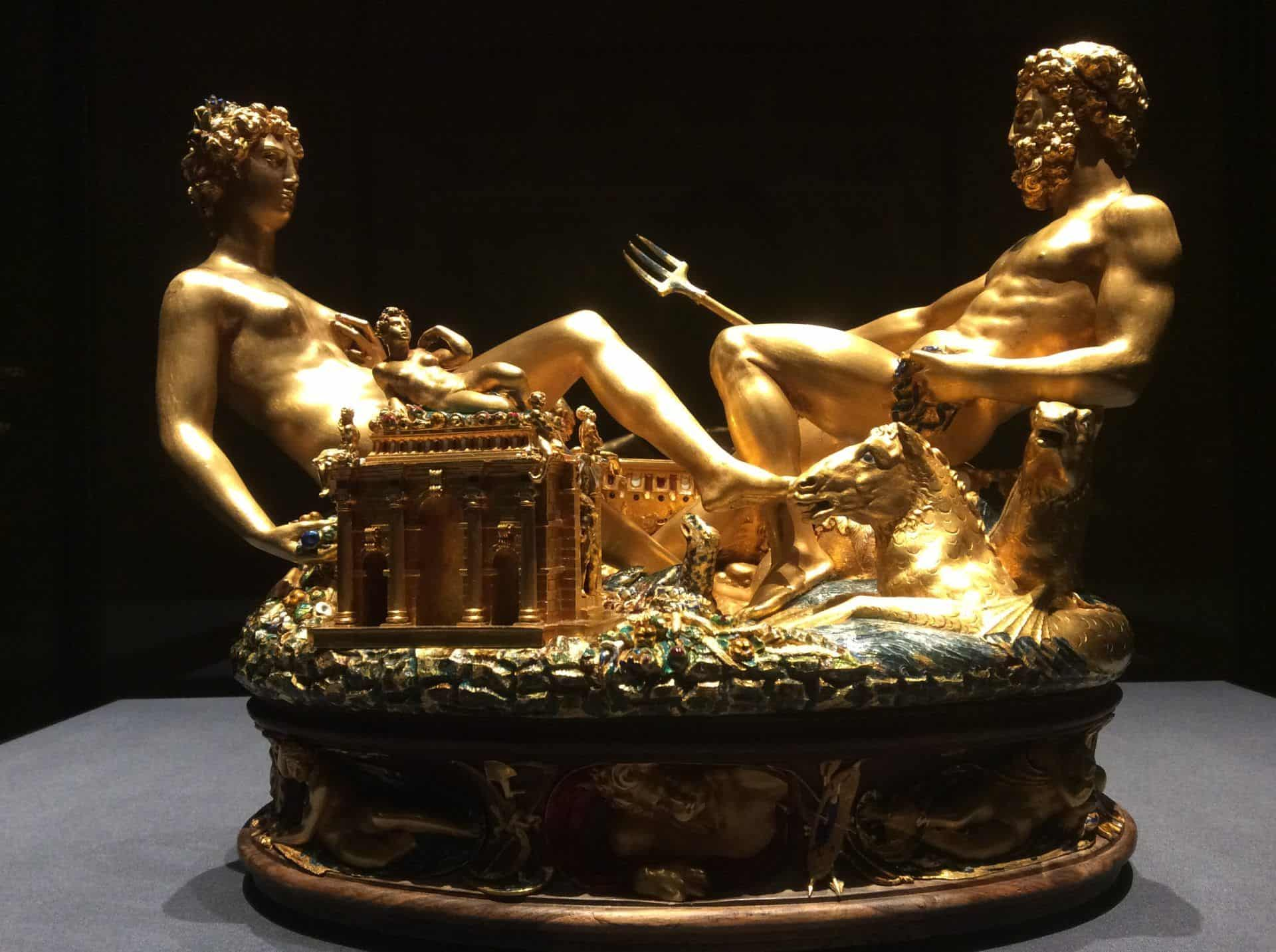 Salt Cellar by Benvenuto Celini at the Kunstkammer of the Vienna Museum of Art History. Photo: Art with me! E.U., 2020