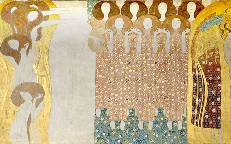 "A fragment of Gustav Klimt's ""Choir of Angels"" in the Beethoven Frieze at the Vienna Secession. Photo: Art with me! e.U., 2020"