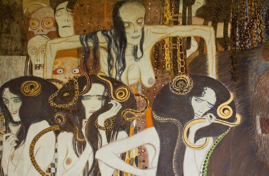A fragment with Death, Illness and Madness in Gustav Klimt's Beethoven Frieze in the Vienna Secession. Photo: Art with me! e.U., 2020