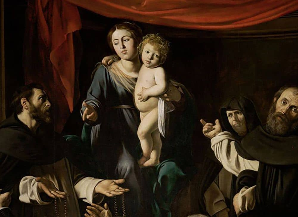 """Madonna with the rosary"" by Caravaggio at the Vienna Museum of Art History, fragment. Photo: wikiart.org."