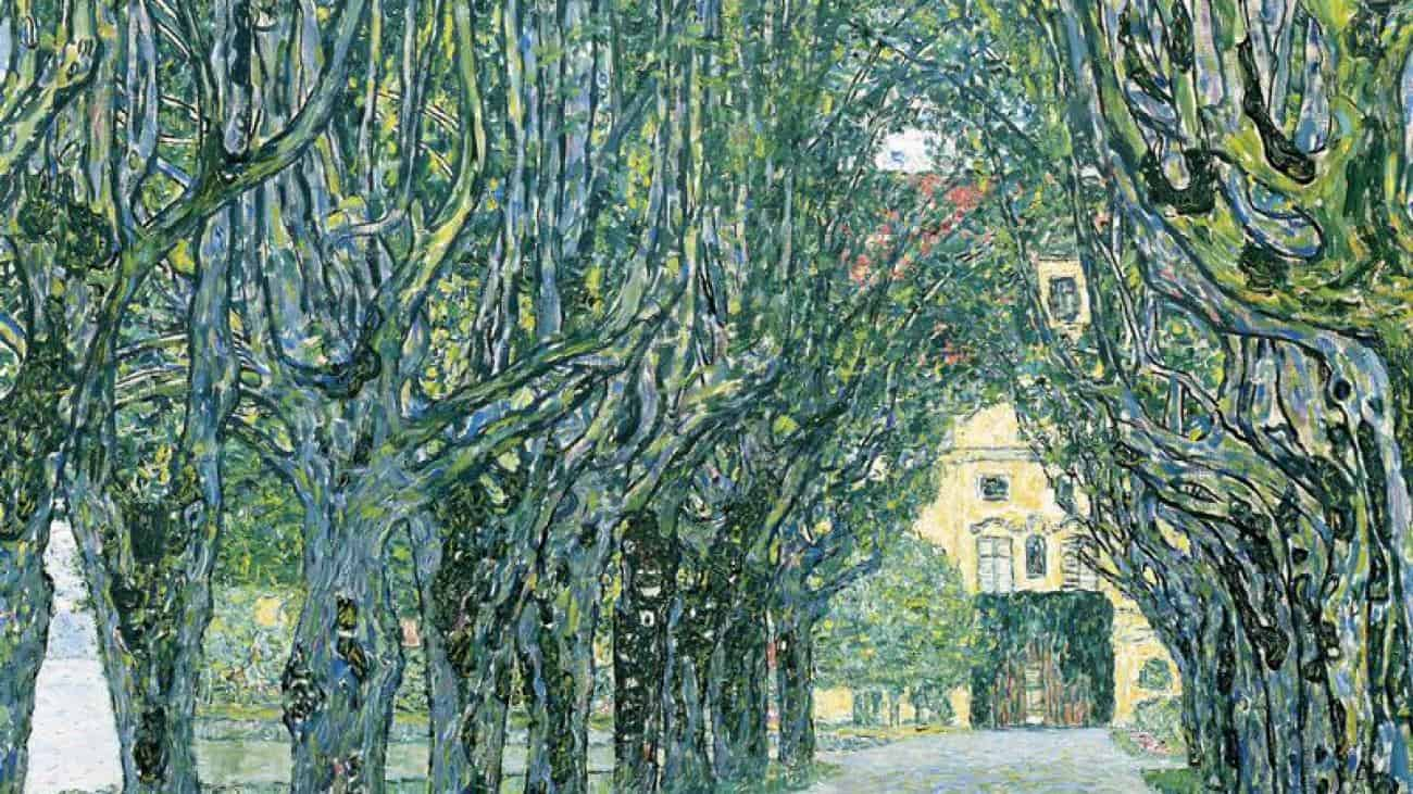 "A fragment of Gustav Klimt's painting ""The Alley of Schlosskammer Palace at Athersee"" in the collection of Dvlorez Belvedere. Photo: wikiart.org."