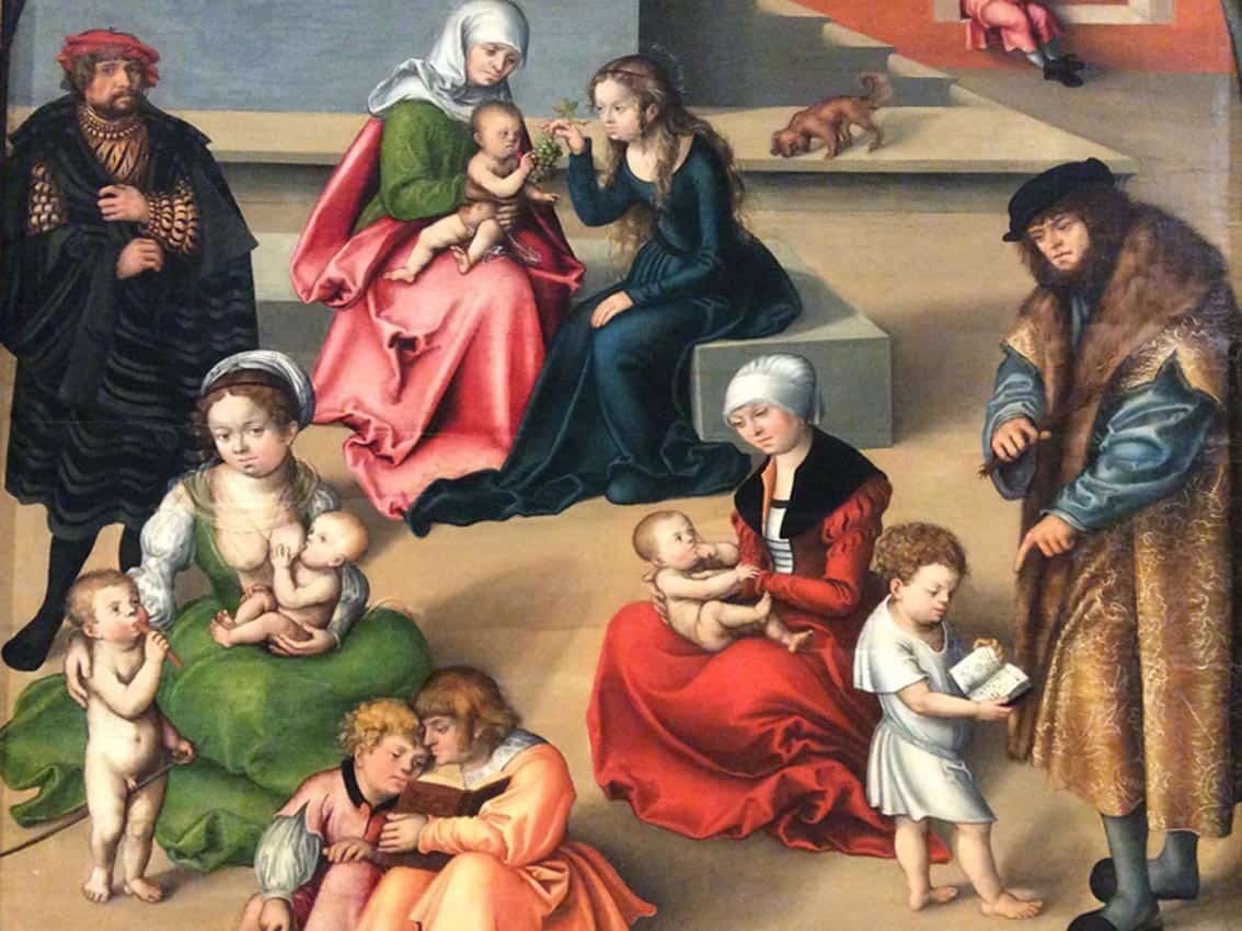 "Fragment of Lucas Cranach's painting ""Holy Kinship"" in the collection of the Gallery of the Academy of Arts in Vienna. Photo: Art with me! e.U., 2018."