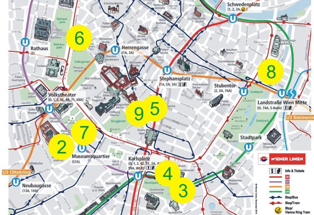 карта вены с работами Климта с музеями вены