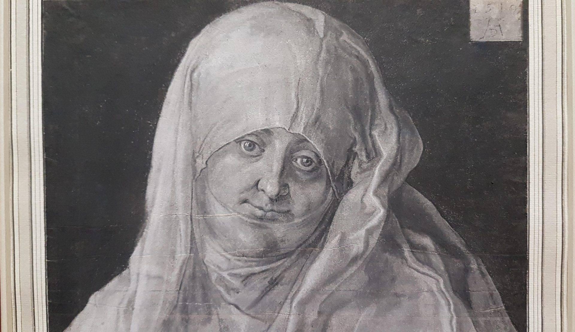 Фрагмент портрета Агнес Дюрер как святой Анны (1519) Альбрехта Дюрера в экспозиции выставки в Альбертине в Вене. Фото Art with me! e.U., 2019