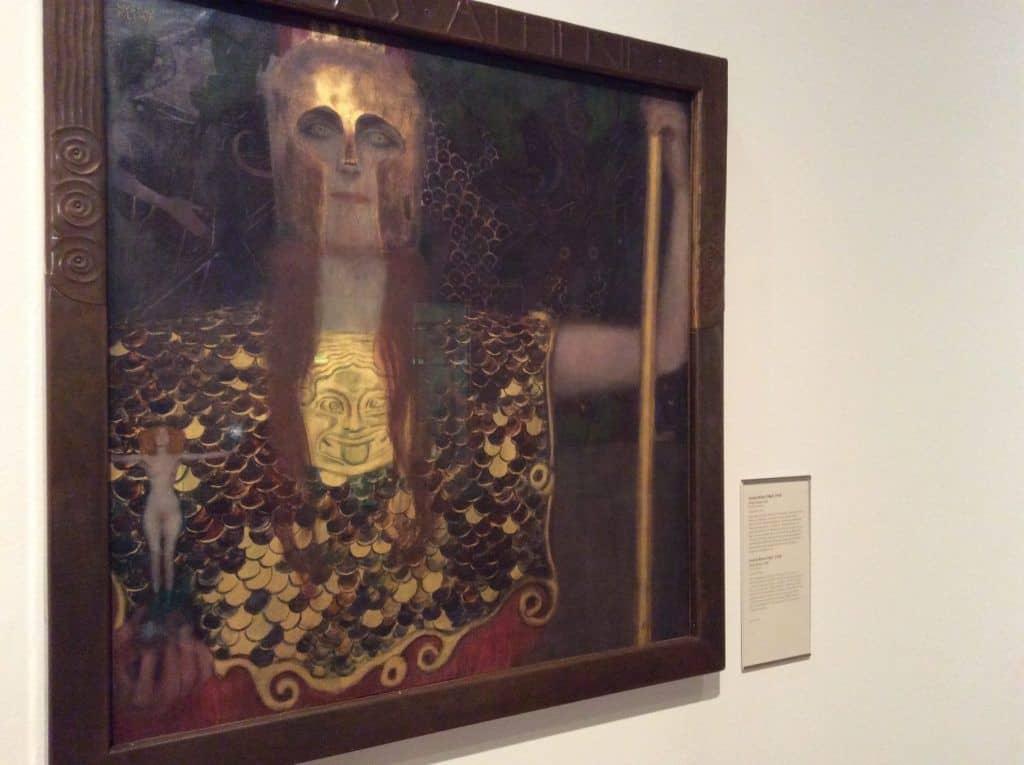"""Pallas Athene"" (1898) by Gustav Klimt at the Vienna Museum. Photo: Art with me! e.U."