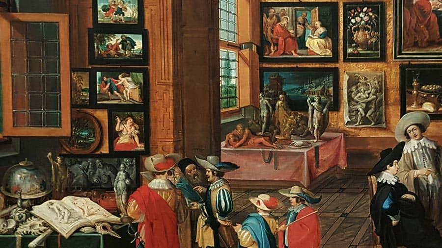 Фрагмент картины Ханса Йорданса «Коллекция искусства и редкостей» (ок.1630) в экспозиции Музея истории искусства в Вене. Фото Art with me! e.U.