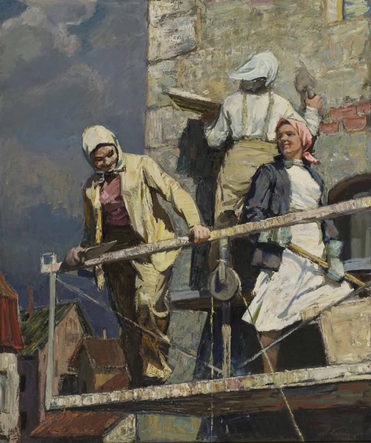 """Михаилс Корнекис """"Давайте, девчонки!"""", 1959 холс, масло. 190 x 160,7 cm, 1959 © Normundus Braslins. Courtesy Latvian National Museum of Art"""