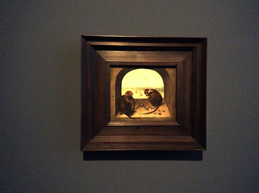 """Peter Bruegel Senior """"Two Monkeys"""" (1562) at the exhibition. Photo: Art with me! e.u., 2019"""